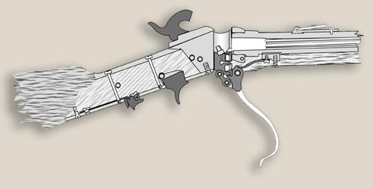 Diagram of a drop block breech being loaded