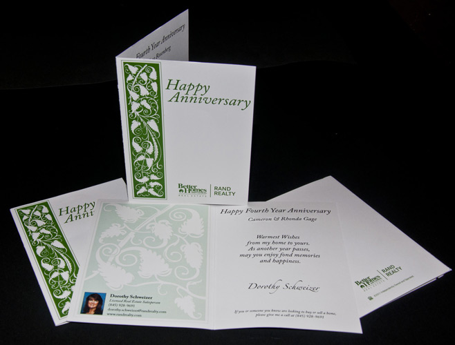 direct mail anniversary card using variable data
