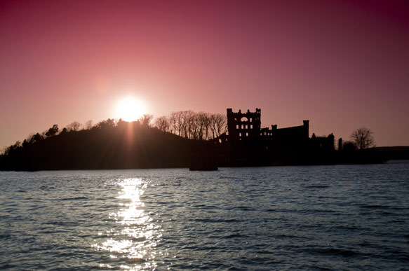 Bannerman's Castle on Pollepel Island in the Hudson River at Sunset