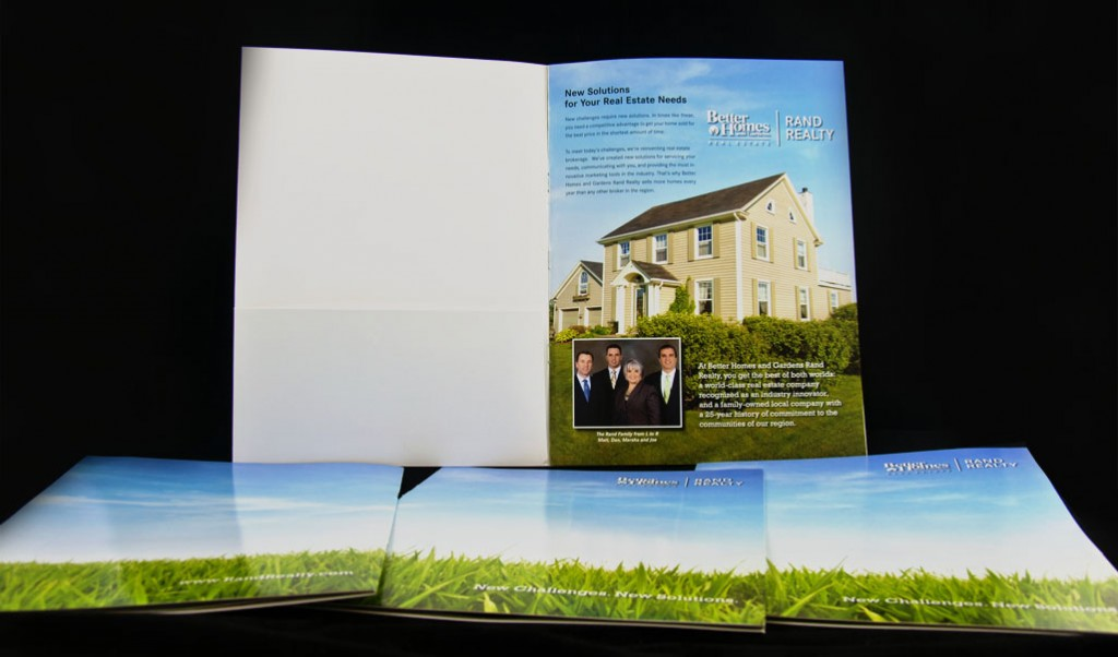 Photo of first interior page of listing presentation brochure