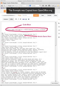 Screen grab of Code Bloat in Open Office