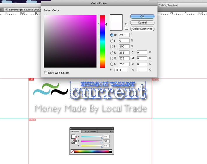 Screen Grab of Adobe Illustrator  vector object and color editor