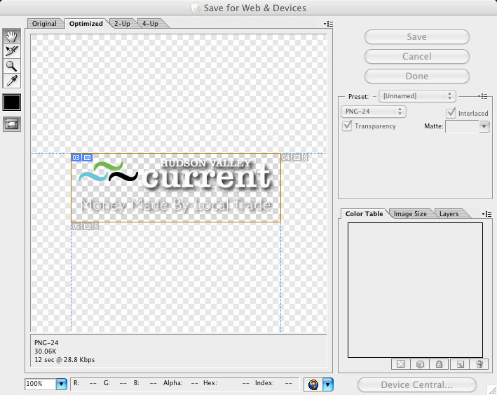 Screen Grab of Adobe Illustrator Save For Web Panel