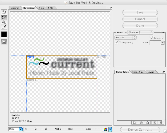 Screen Grab of Adobe Illustrator Save For Web Menu with transparency issue