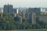The Bronx's Apartment buildings shroud the Throggs Neck Bridge.