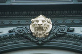 Lion relief carving above a window.
