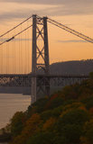 The Bear Mountain Bridge with fall foliage and the Hudson River.
