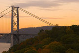 The Western Tower of the Bear Mountain Bridge with Fall Foliage.