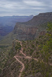 The Bright Angel Trail traces its way up the South Rim of the Grand Canyon on a cloudy day