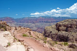 The South Kaibab Trail winds its way down the steep slope of The Grand Canyon