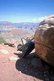 A Wheelbarrow leans against a rock along the South Kaibab Trail in the Grand Canyon