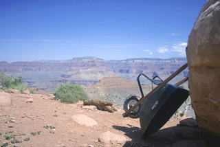 Wheelbarrow and Rock