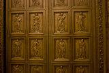 Bronze Door Relief Sculpture from a church in Philadelphia. Shot at night.